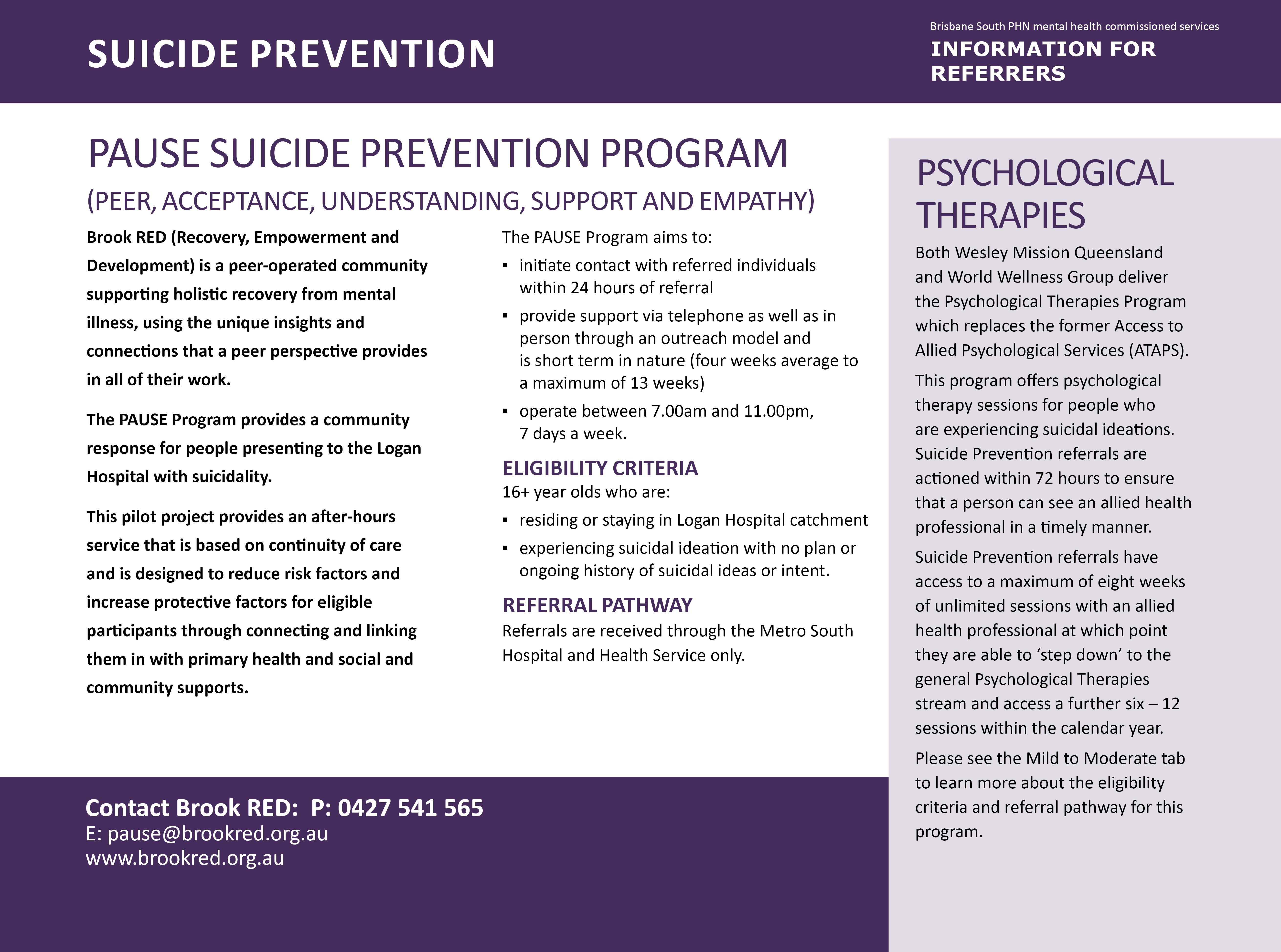 PAUSE suicide prevention program