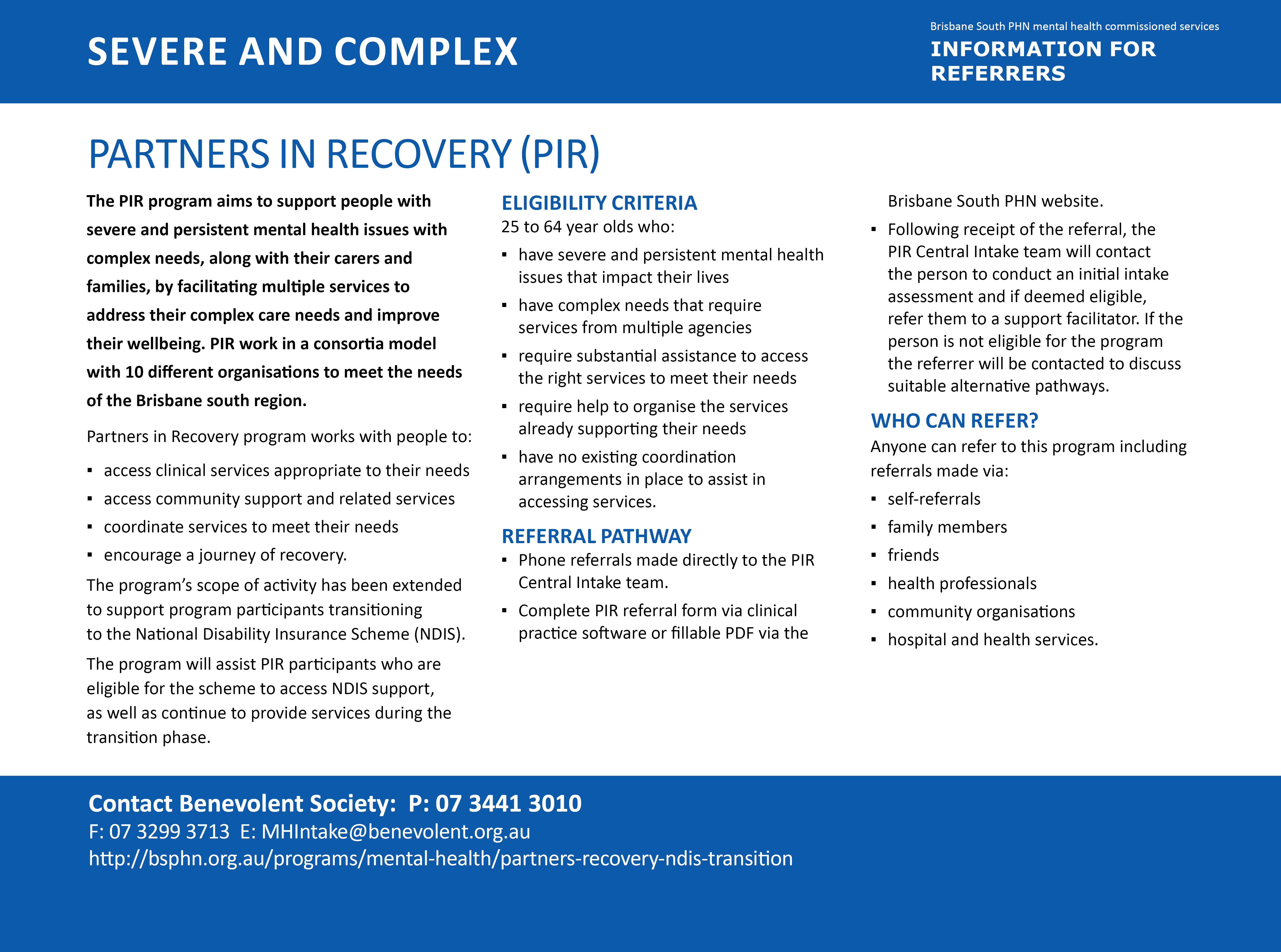 Partners in Recovery (PIR) program