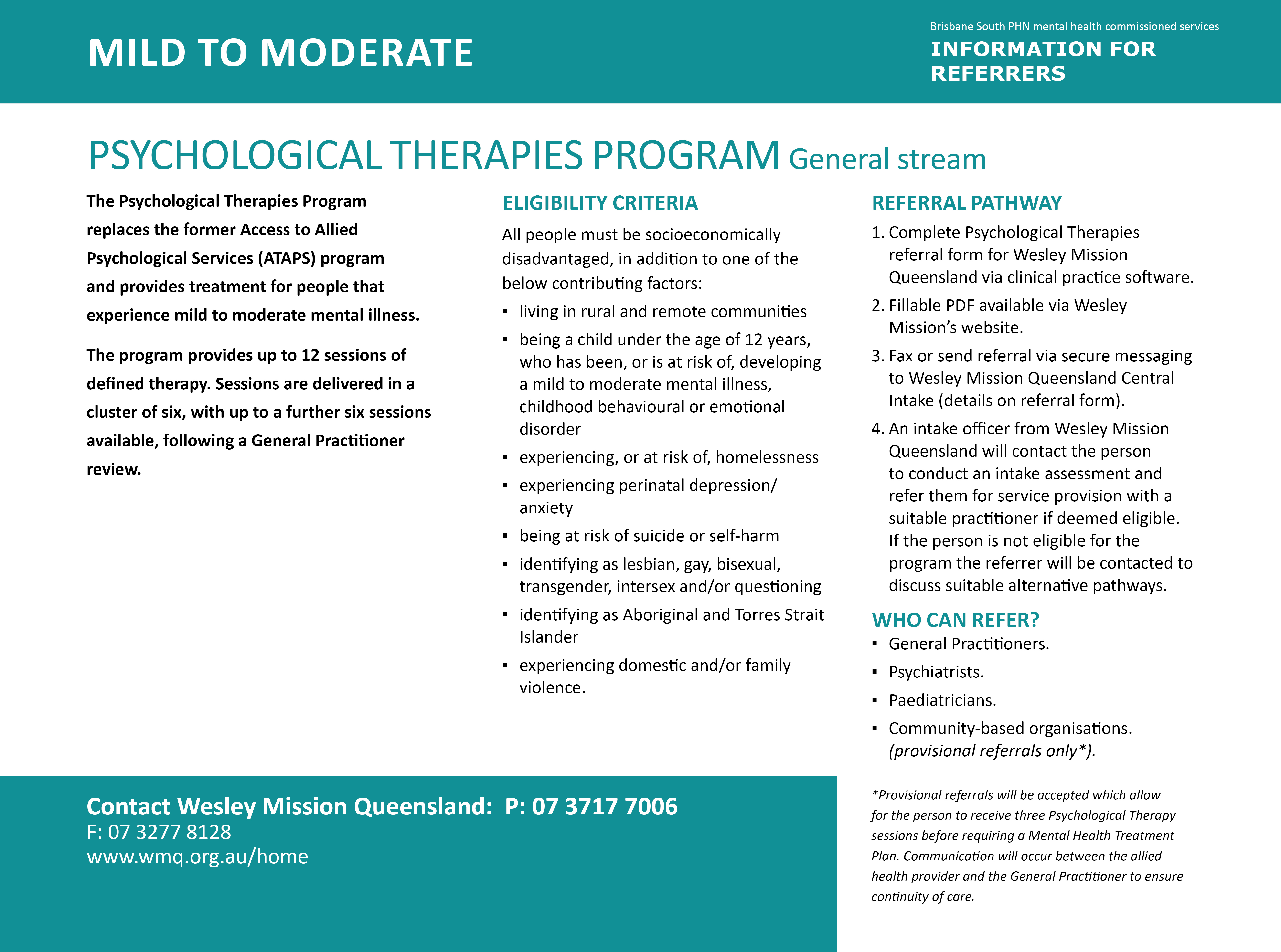 Psychological Therapies Program - General