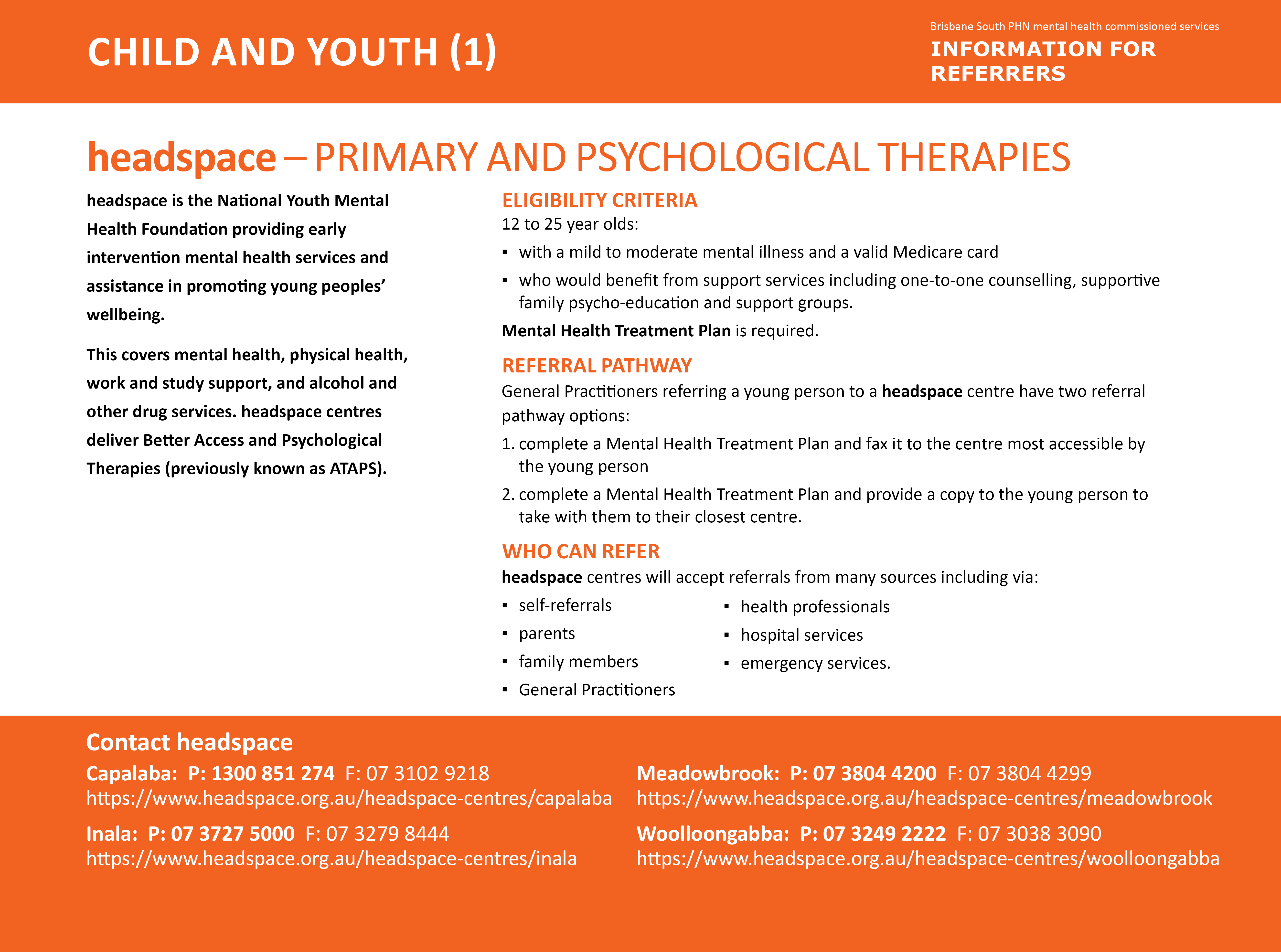 headspace - Primary and Psychological Therapies